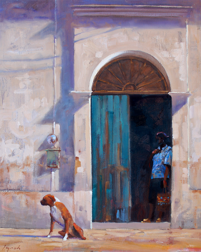 Dog, Door and Woman 16X20