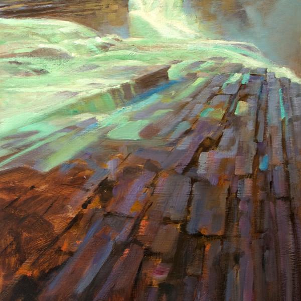 'Gateway' Athabasca Falls, Jasper Nat. Park. 18 X 24 in. oil on prepared board. Mountain Galleries, jasper. copyright Brent Lynch