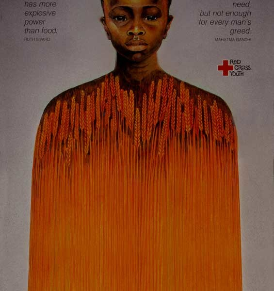 1980 'Red Cross' Ethiopia Famine Relief,  watercolor and gouache on Strathmore 200 lb paper