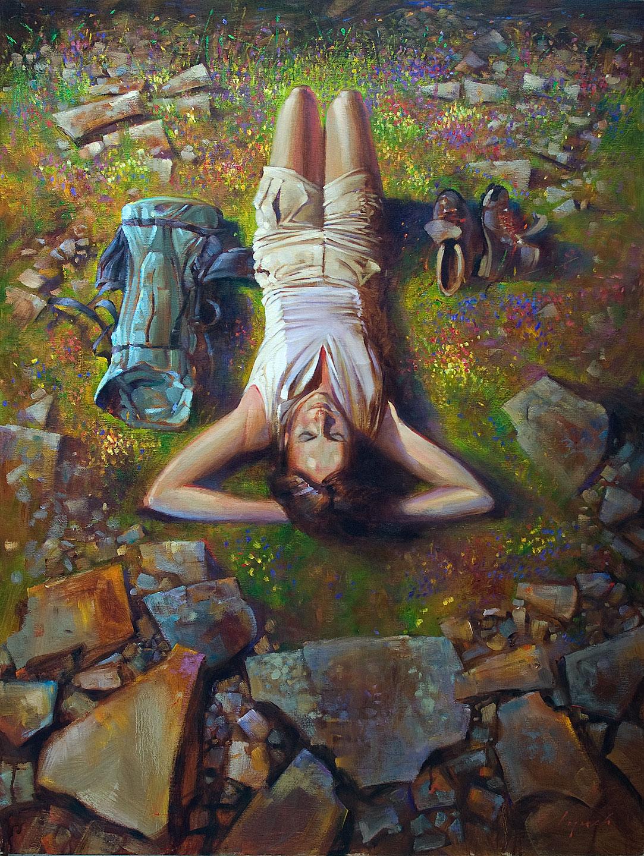 'Beside a Mountain Stream' 36 X 48 in. oil on canvas -  Avenue Gallery, Oak Bay. SOLD copyright Brent Lynch
