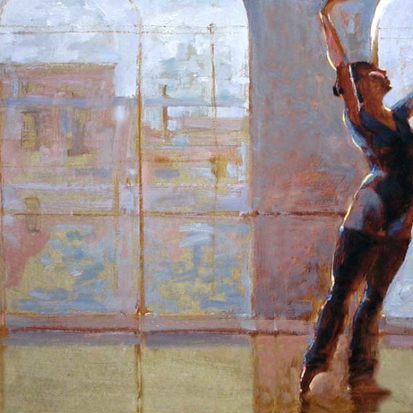 'Silhouette'  life study, Ballet BC, oil on prepared board 16 X 20 in. copyright Brent Lynch.