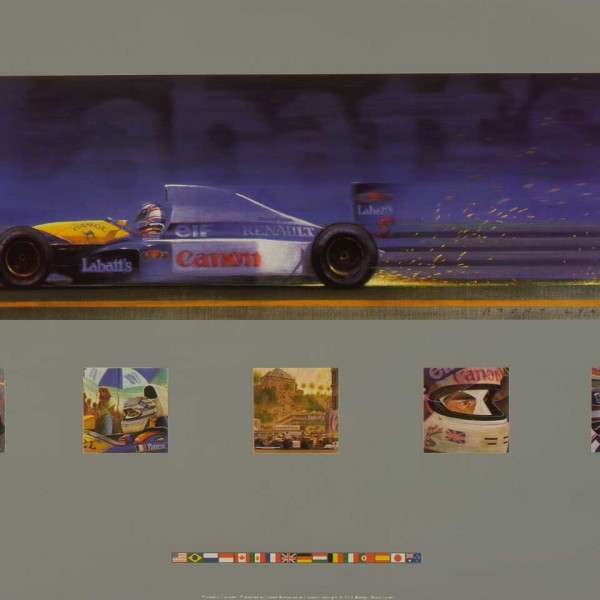 1990 - International Car Racing, Formula 1 'Williams Team Champions', series of paintings celebrating the teams year in racing.