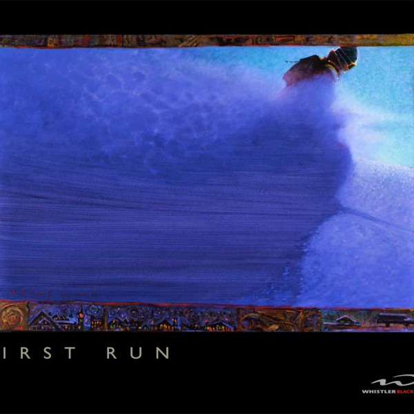 'First Run' original artwork for Whistler Blackcomb advertising 1993