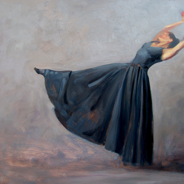 'Zero Hour' BC Ballet Dance Company, life study 12 X 16 in. oil on prepared board. copyright Brent Lynch