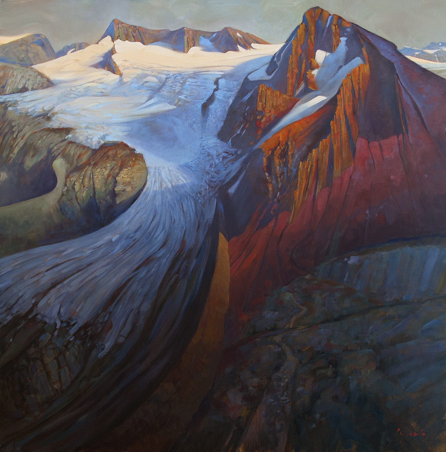 'Ice In The Sky' Overlord Whistler, 36  X 48 in. oil on canvas - Mountain Galleries