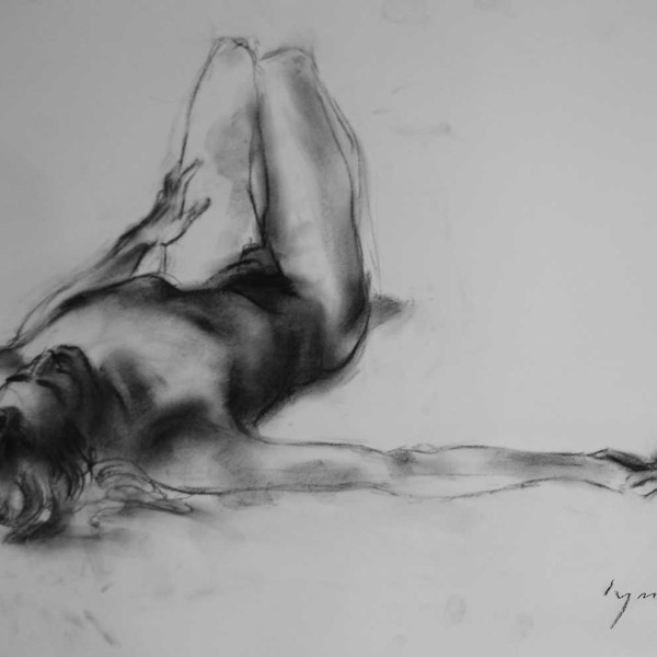 Nude Reclined, Arm Stretched, charcoal on paper. copyright Brent Lynch