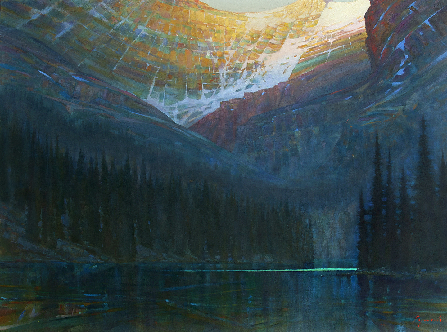 Last Light O'Hara 38 X 48 in. oil on canvas - Mountain Galleries