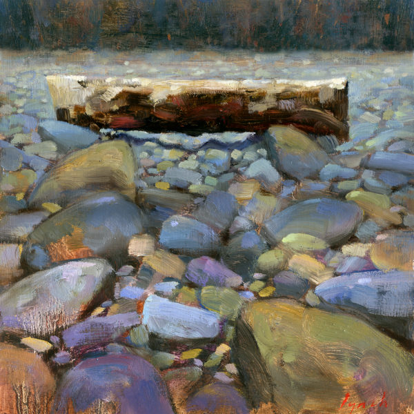 Field study-'Log on Beach'  12 X 12 in. oil on board - The Avenue Gallery