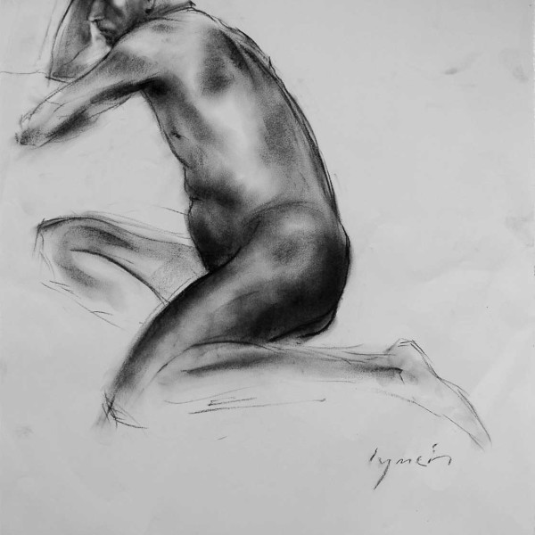 'Nude 105' charcoal on paper