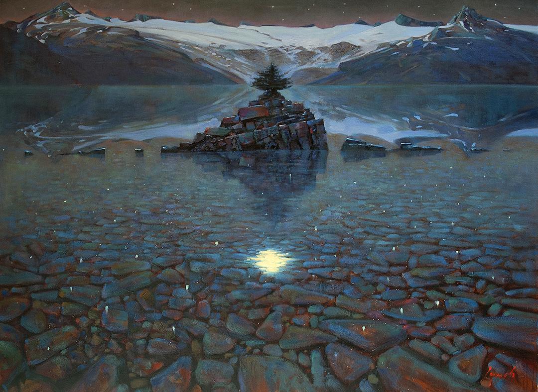 Moondance, Garibaldi Lake 36 X 48 in oil on canvas - Mountain Galleries