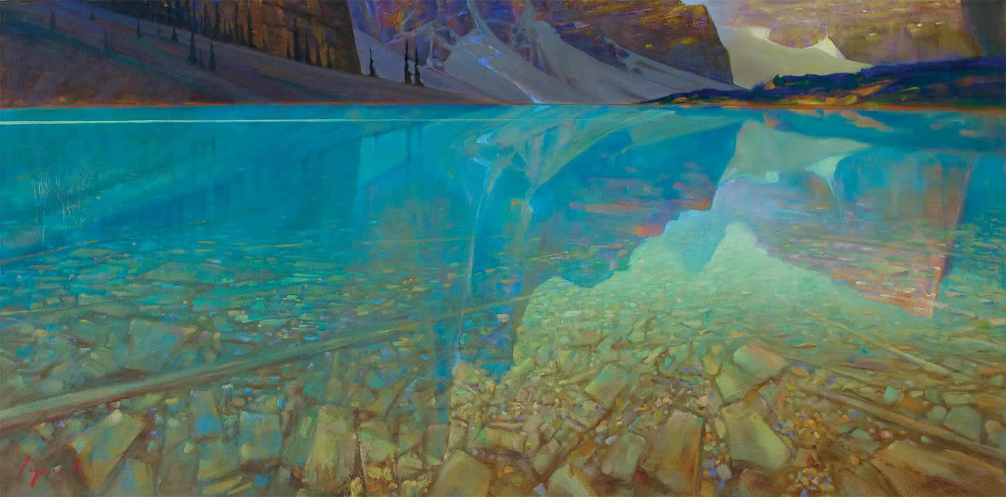 SOLD 'Moraine Shallows' 24 X 48 in. oil on canvas - Mountain Galleries. copyright Brent Lynch