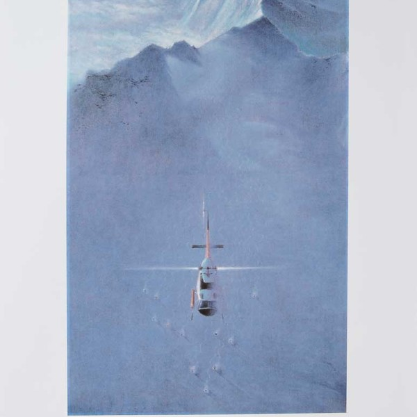 'Mountain Holidays' ( specializing in Rocky Mountain Heli-Skiing ) original artwork for advertising 1989