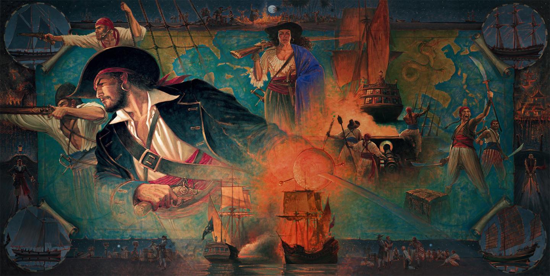 History of Louisiana, Jean LaFitte 12 X 5 ft. deep oil on canvas