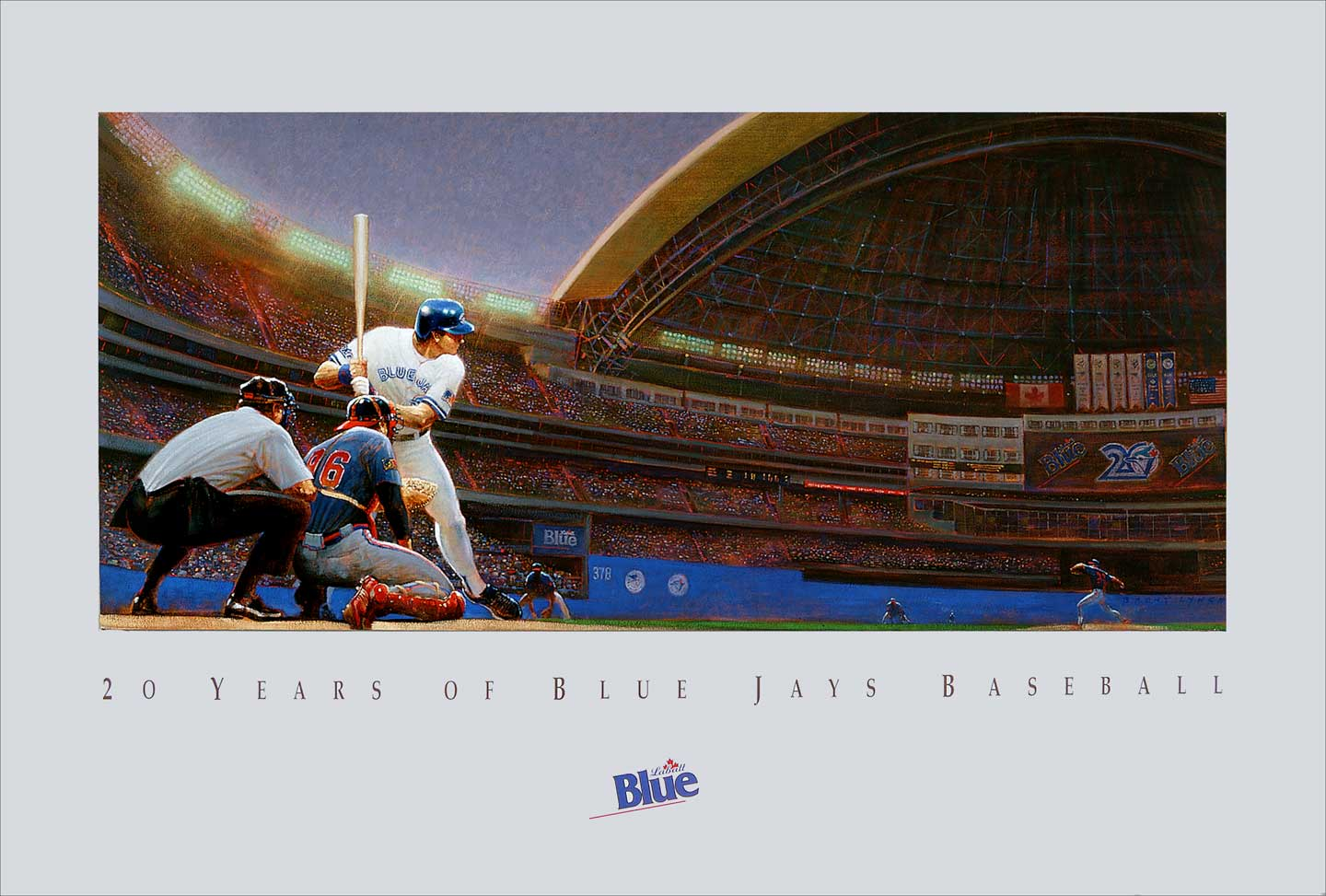 1989 Celebration of 20 years of Blue Jay Baseball. original artwork for the National Baseball League