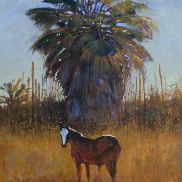 'Horse under Giant Palm' 16 X 20 in. oil on prepared board. Ida Victoria gallery