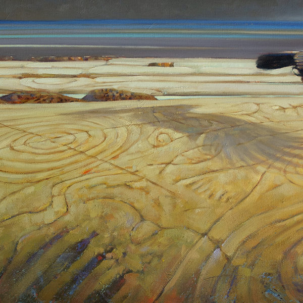 'Raven Over Petroglyths' Hornby Island  24 X 48 in. oil on canvas - Mountain Galleries