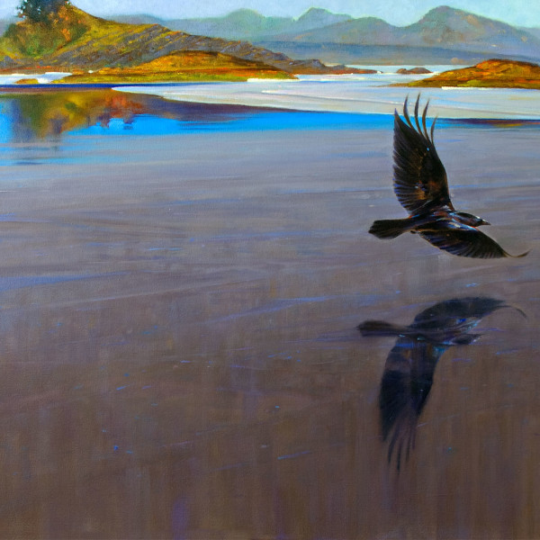 'Raven on Glass' 36 X 48 in. oil on canvas - Avenue Gallery, Oak Bay. copyright Brent Lynch  #lynch #brentlynch #art #artwork #lynchatlarge #artrist #life #lifedrawing #painting #watercolor #gallery #fineart #creative #contemporaryart #landscape #figurative #pleinair #workshops #canada #britishcolumbia #design #unigue #cabo #composition #life #architecture #mexico #rocks #ocean #surf #nature #mountain #alpine.