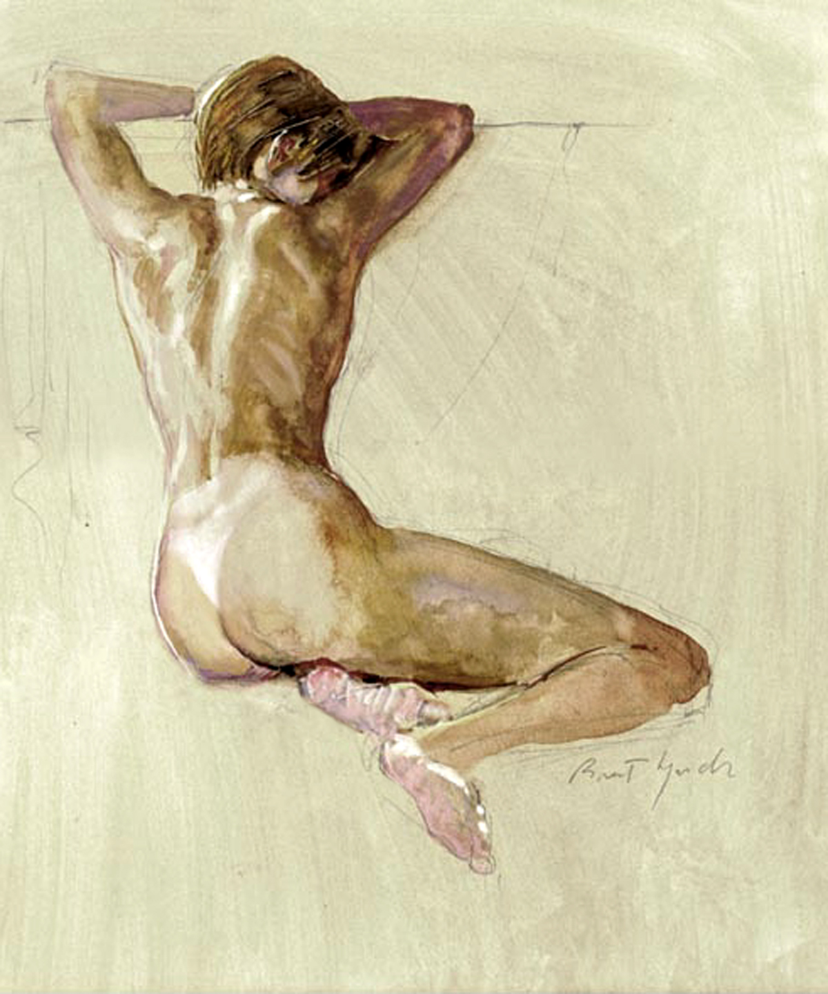 'Nude Sitting 30',  watercolor on Bristolboard 12 X 16 in. copyright Brent Lynch.