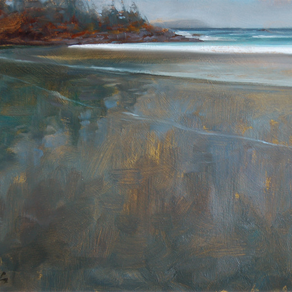 Chestermans Beach, Tofino BC, 8 X 10 in. oil on prepared baord.
