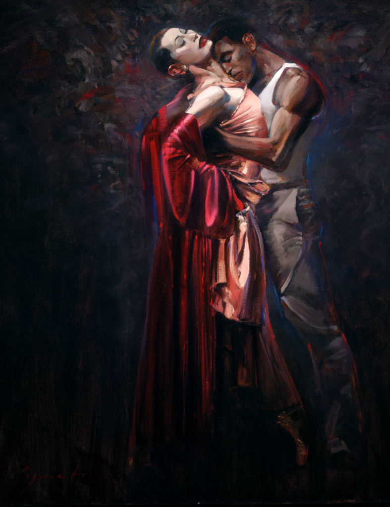 'Street Car Named Desire'  Painting for Ballet Production, portrait of lead dancers, 36 X 48 in. oil on canvas. copyright Brent Lynch