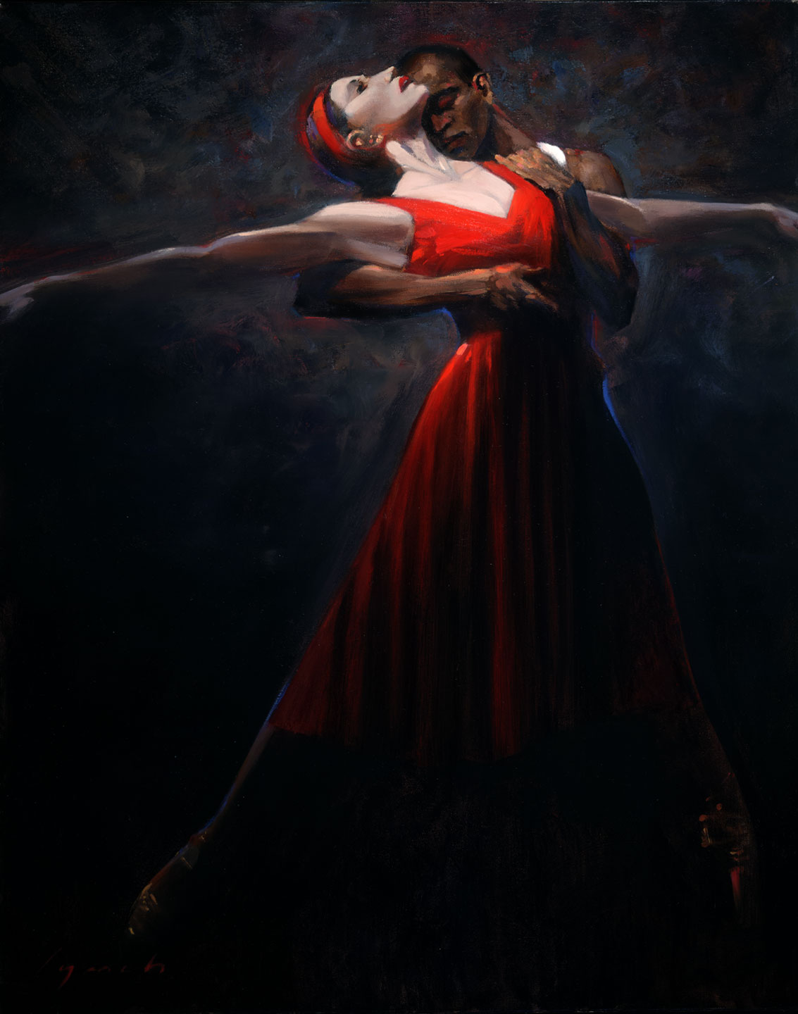 'Street Car Named Desire 2'  commission for Ballet BC, portrait of lead dancers, 36 X 48 in. oil on canvas. copyright Brent lynch