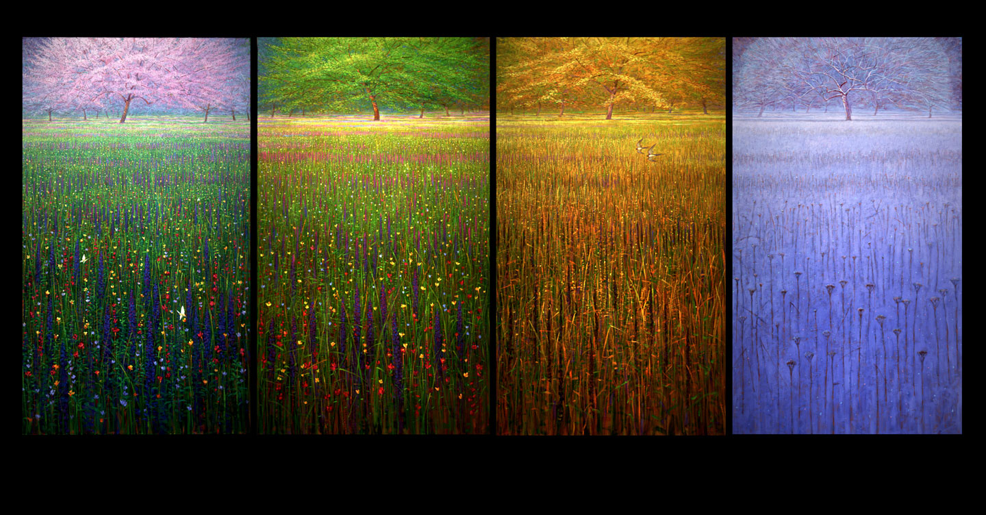 'Orchard in Four Seasons'   4 X 48 X 72 in., oil on canvas, copyright Brent Lynch