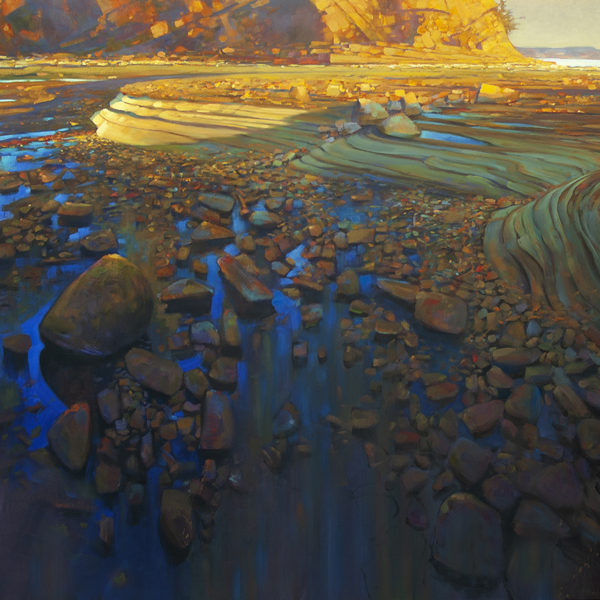 'Sandstone Wave' Madrona Beach 48 X 60 in. oil on canvas - Mountain Galleries