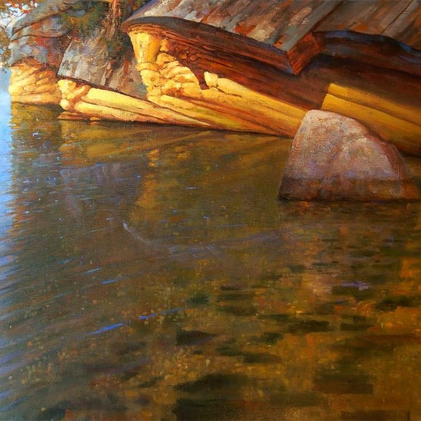 'Sandstone Shallows' 30 X 40 in. oil on canvas. studio. copyright Brent Lynch