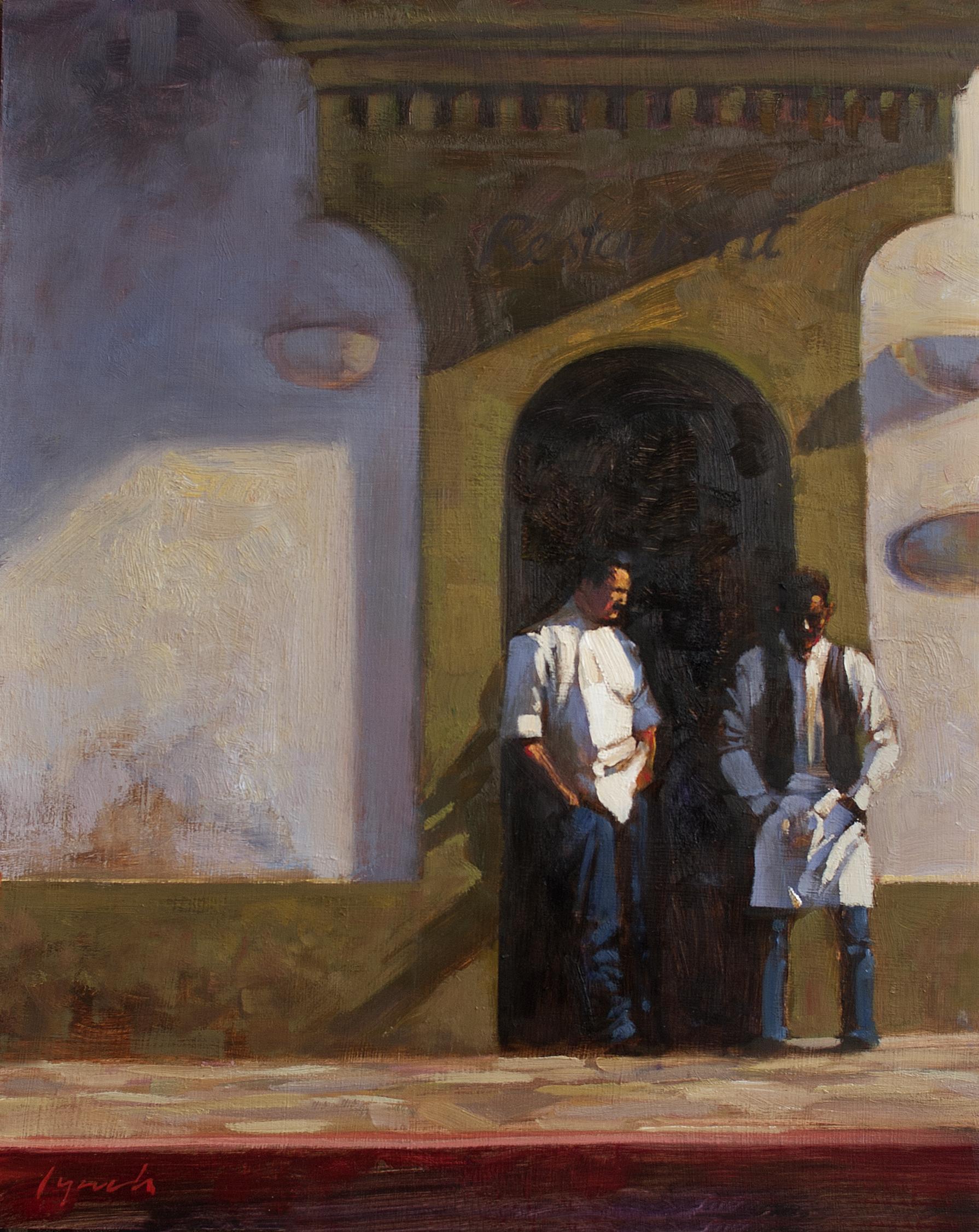 'Santa Fe Cafe' 16 X 20 in. oil on prepared board. Ida Victoria Gallery.