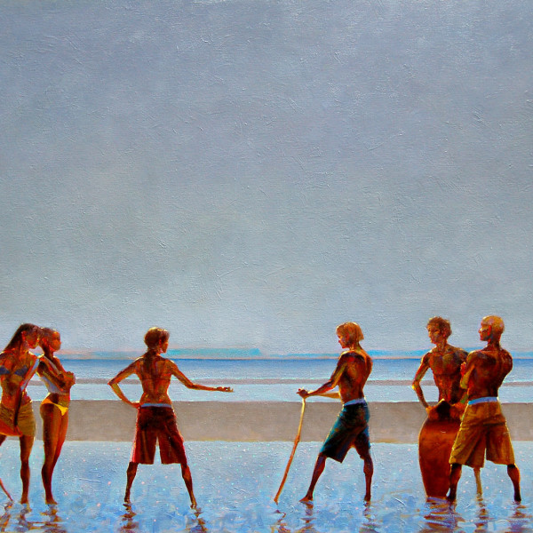 'The Spartan Girls Provoke the Boys' oil on canvas 36 X 48 in. copyright Brent Lynch.