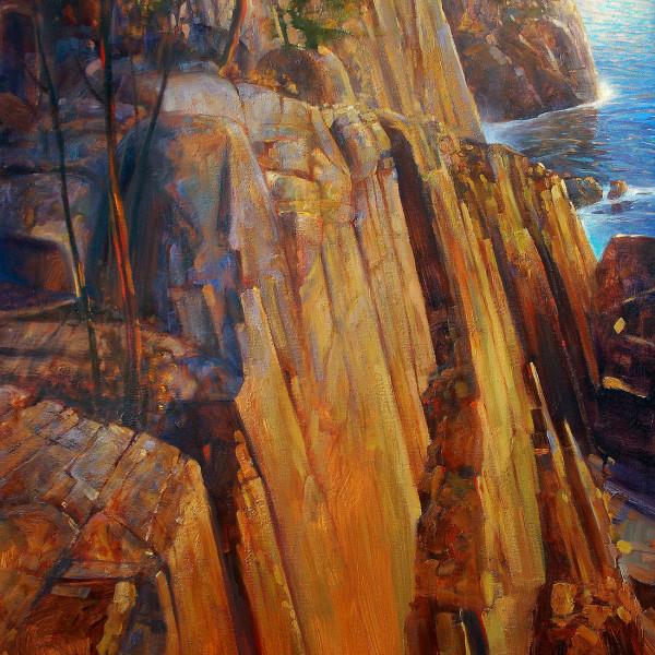 'Golden Cliffs' 36 X 48 in. oil on canvas. studio. SOLD copyright Brent Lynch