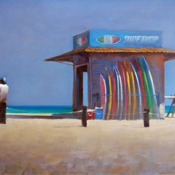 Zipper's Beach, San Jose Del Cabo Baja Mexico 2011. 12 X 16 in oil on prepared board. copyright Brent Lynch