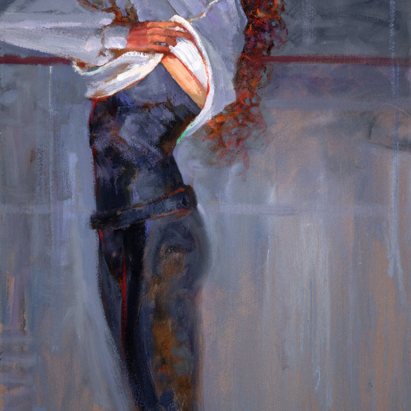'Sweatshirt' life study, Ballet BC, oil on prepared board 16 X 20 in. copyright Brent Lynch.