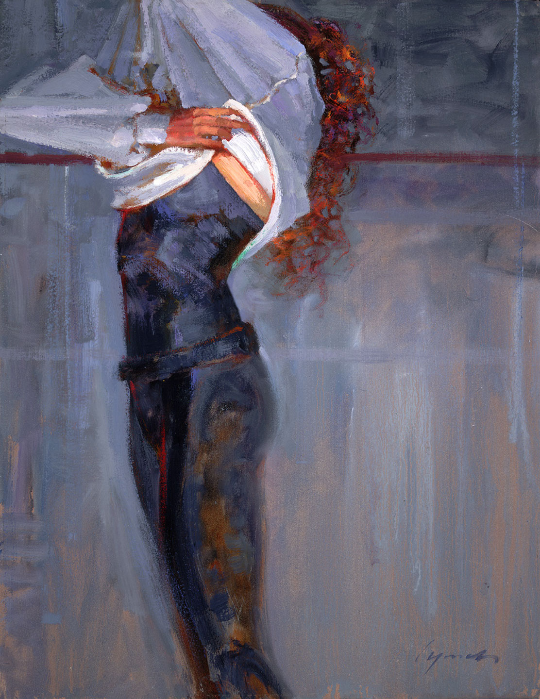 'Sweatshirt' life study, Ballet BC, oil on prepared board 16 X 20 in. copyright Brent Lynch.