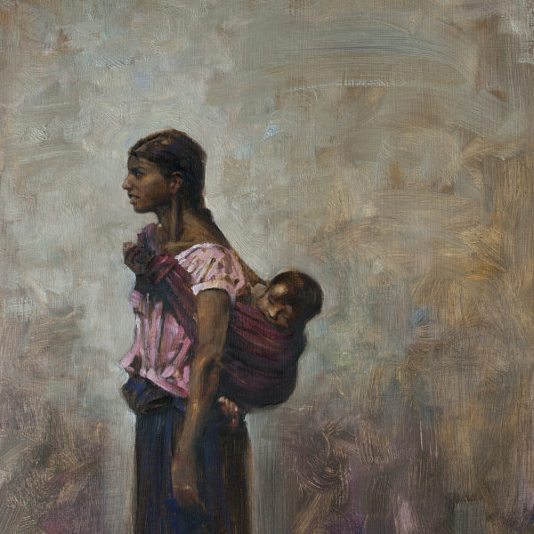 'Young Mother and Child' 16 X 20 in oil on prepared board.