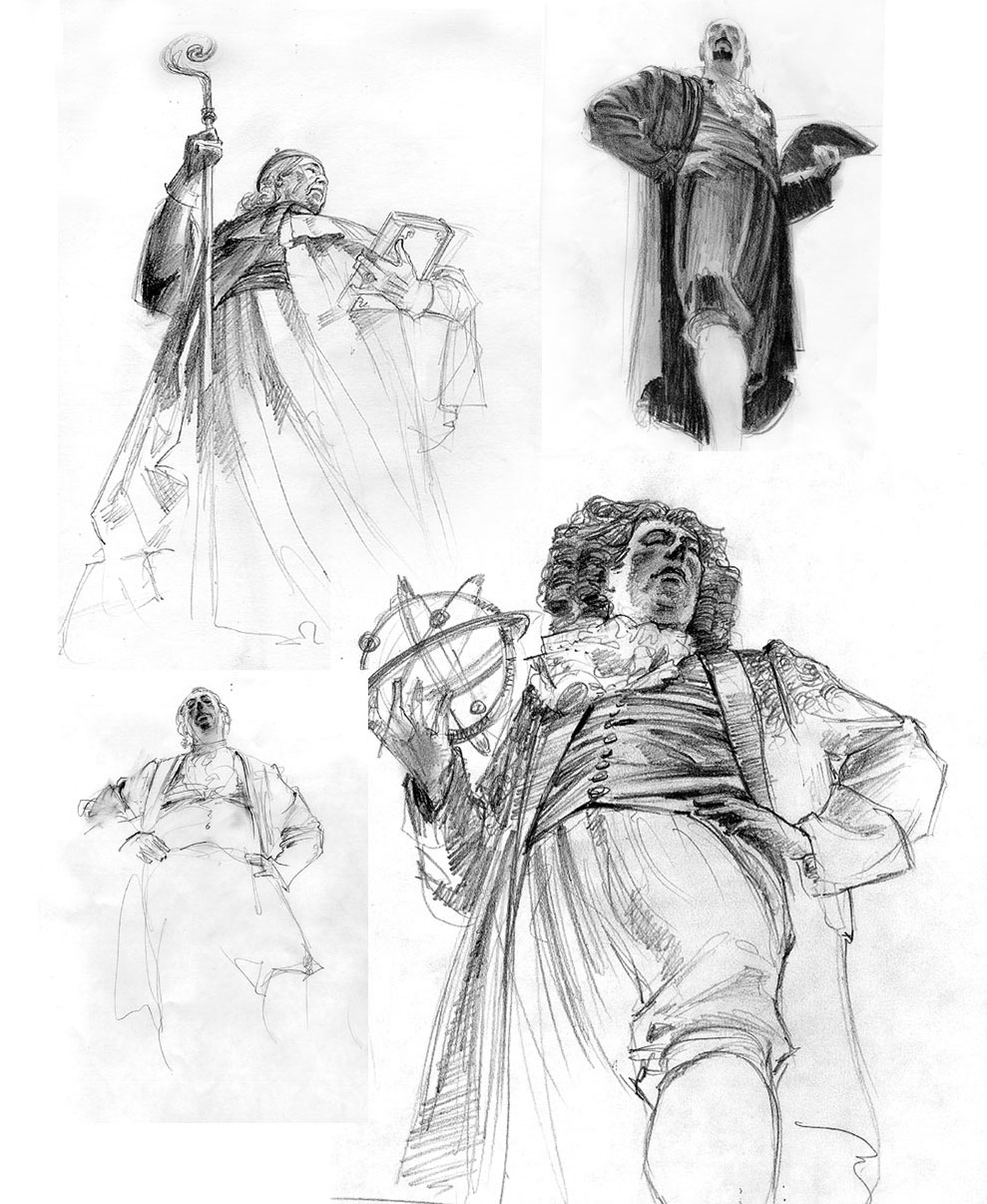 Initial figure studies for the Green Mural. copyright Brent Lynch
