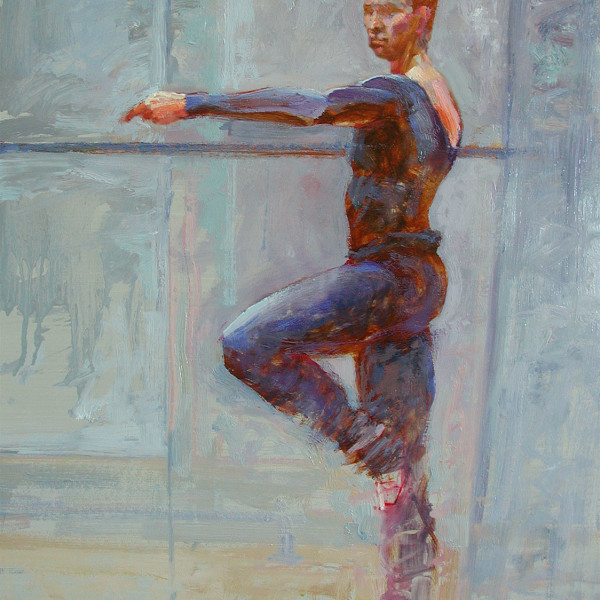 'Male Dancer at Bar'  life study, Ballet BC, oil on prepared board 16 X 20 in. copyright Brent Lynch.