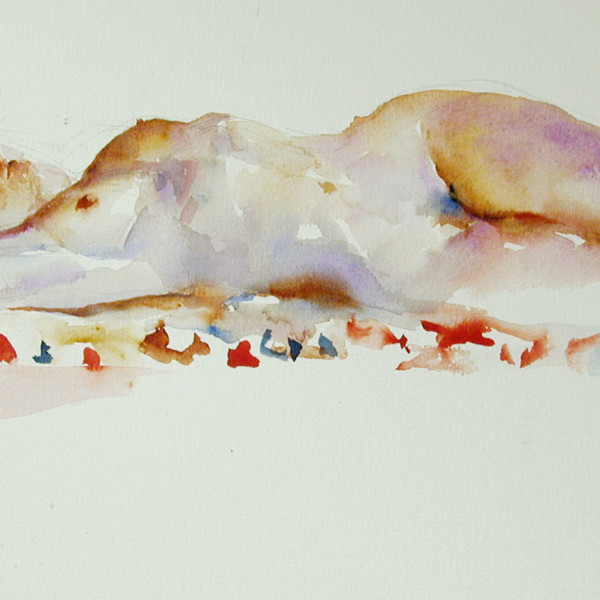 Nude Reclined 23, watercolour on Strathmore 200 ib.  16 X 20 in. copyright Brent Lynch.