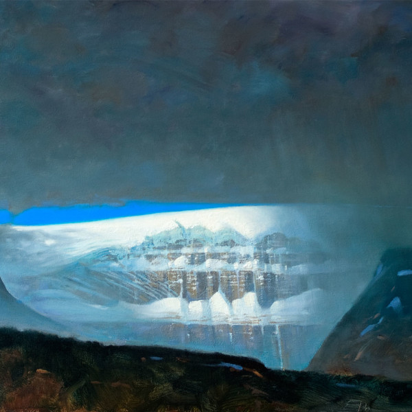 'Face in Window' Athabasca Glacier  24 X 36 in. oil on canvas. Mountain Galleries. copyright Brent Lynch