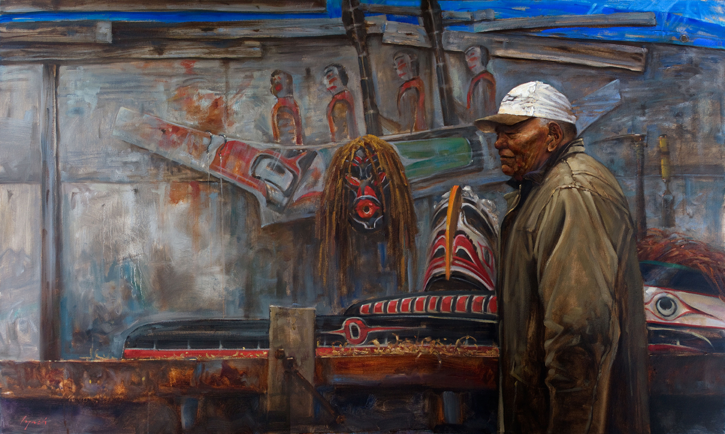 'Carver's Shed' portrait of Al West, hereditary chief and artist of the Namgis.