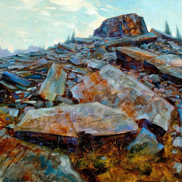 'Giants on Ridge' 18 X 24 in oil on prepared board. Mountain Galleries