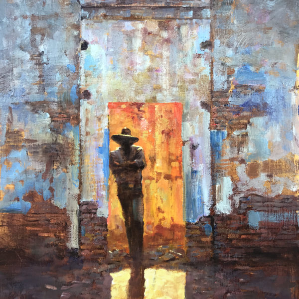 'Figure in Doorway' 18 X 24 Ibn. oil on prepared board. Ida Victoria gallery BCS.
