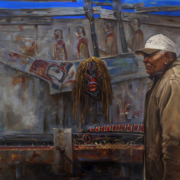 'Al West' In his studio: Hereditary Chief of the Namgis. 48 X 60 in. oil on canvas